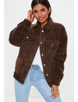 Brown Oversized Borg Trucker Jacket by Missguided