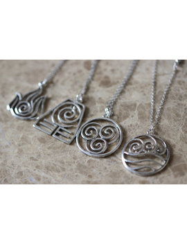 4pcs 4 Nations   Antique Silver Avatar The Last Airbender Necklace by Brandon Jewelry Studio