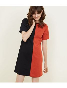 Black And Red Contrast Cross Hatch Tunic Dress by New Look