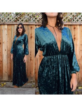 Gypsy Eyes Handmade Vintage Inspired Bianca Maxi Dress In Teal Crushed Velvet by Shop Gypsy Eyes