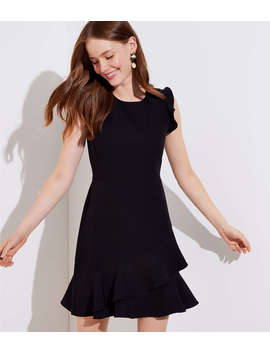 Petite Wraparound Flounce Flare Dress by Loft