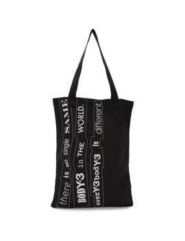 Black Slogan Tote by Y 3