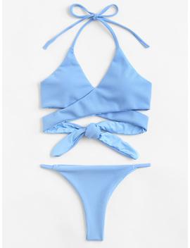 Wrap Knot Halter Bikini Set by Romwe