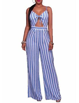 She Kiss Women's Sexy Spaghetti Strap Striped High Waist Wide Leg Long Pants Palazzo Jumpsuit Rompers Ladies Outfits by Shekiss