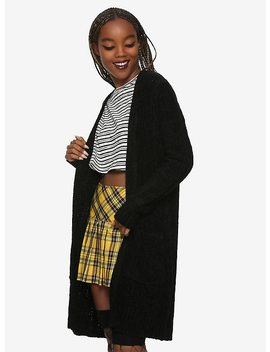 Black Long Chenille Girls Cardigan by Hot Topic