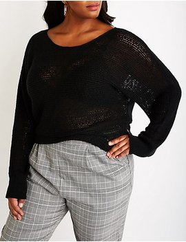 Plus Size Open Knit Pullover Sweater by Charlotte Russe