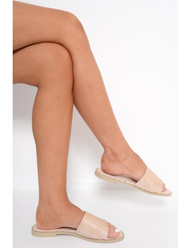 Beige Snake Effect Sliders    Jamiee by Rebellious Fashion