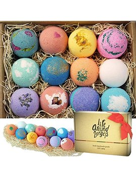 Life Around2 Angels Bath Bombs Gift Set 12 Usa Made Fizzies, Shea & Coco Butter Dry Skin Moisturize, Perfect For... by Life Around2 Angels