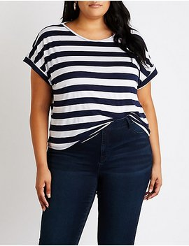 Plus Size Striped Strappy Back Tee by Charlotte Russe