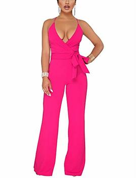 Dreamparis Women's Deep V Neck Wide Leg Jumpsuits Wrap Rompers Belted by Dreamparis