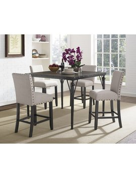 Gracie Oaks Amy Wood Counter Height 5 Piece Dining Set With Fabric Nailhead Chairs & Reviews by Gracie Oaks