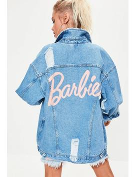 Barbie X Missguided Blue Printed Back Long Sleeve Denim Jacket by Missguided