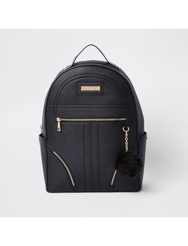 Black Pom Pom Zip Front Backpack by River Island