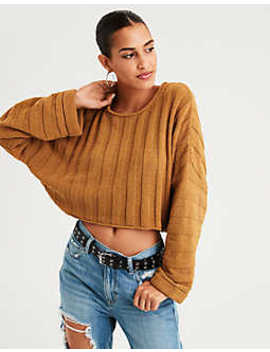 Ae Wide Rib Crop Sweater by American Eagle Outfitters
