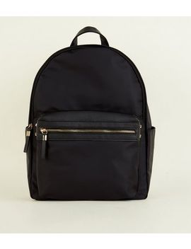Black Nylon And Leather Look Backpack by New Look