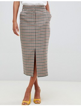 Asos Design Tailored Hunting Checked Pencil Skirt by Asos