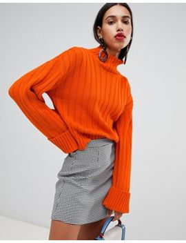 Boohoo   Pull à Larges Côtes Et Col Montant   Orange by Boohoo