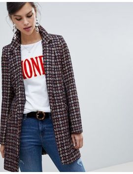 River Island Boucle Tailored Coat In Check by River Island