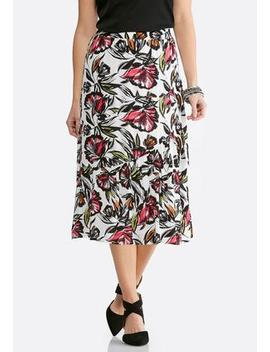 Plus Size Gauze Verde Blooms Midi Skirt by Cato