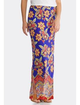 Plus Size Golden Floral Maxi Skirt by Cato