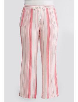 Plus Size Drawstring Linen Striped Pants by Cato