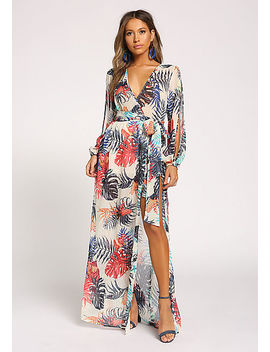 Multi Leaf Sleeve Slit Hi Lo Maxi Dress by Love Culture