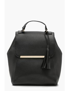Metal Bar Foldover Rucksack by Boohoo