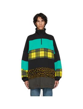 Black & Blue Oversized Chimney Sweater by Balenciaga