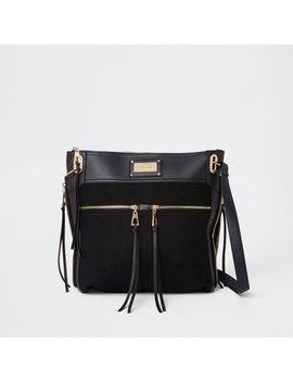 Black Double Pocket Messenger Bag by River Island