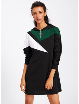 Contrast Panel Zip Detail Hoodie Dress by Romwe