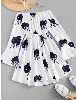 Fluted Sleeve Floral Print Dress by Romwe