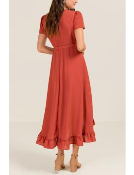 Mallory Ruffle Trim Wrap Dress by Francesca's