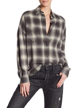 Brushed Window Plaid Oversized Shirt by Vince