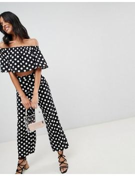 Love & Other Things Polka Dot High Waisted Wide Leg Pants by Pants
