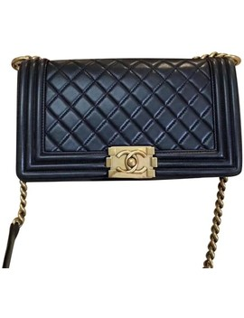 Boy Black Flap Medium Gold Hardware Charcoal Lambskin Leather Shoulder Bag by Chanel