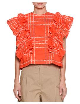 Short Sleeve Logo Print Ruffle Cotton Top by Msgm