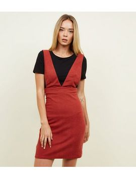 Red V Neck Pinafore Dress by New Look