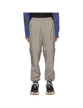 Navy & Tan Checkered Track Pants by Balenciaga