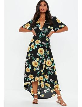 Black Floral High Low Midi Dress by Missguided