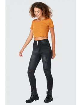 Heidi 4 Button Ripped Skinny Jean by Select