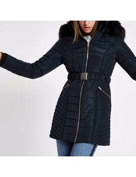 Navy Faux Fur Longline Belted Puffer Jacket by River Island