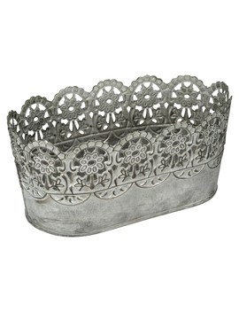 Large Galvanized Container With Lace Trim By Ashland® by Ashland