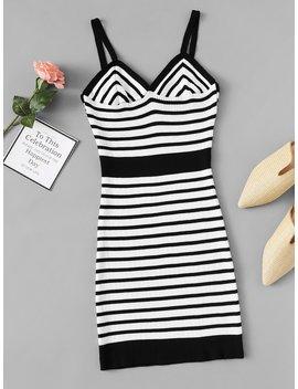 Striped Knit Cami Dress by Romwe