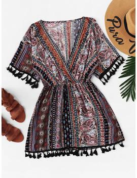 Fringe Trim Tribal Geo Print Dress by Romwe