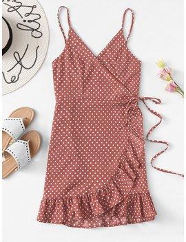 Knot Side Ruffle Trim Spot Cami Dress by Romwe