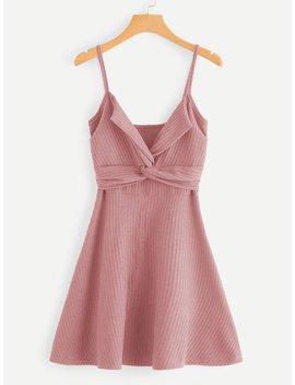 Twist Front Knit Cami Dress by Romwe