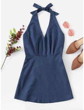 Open Back Halter Dress by Romwe