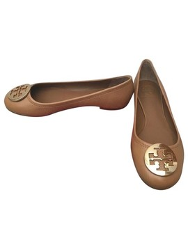 Royal Tan 9.5m Reva Tumbled Leather Ballet Flats by Tory Burch