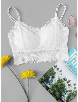 Lace Sheer Cami Top by Romwe