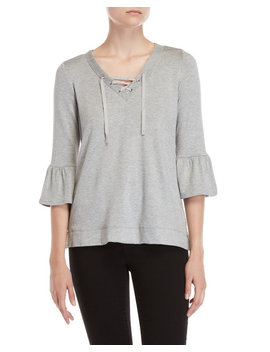Lace Up Bell Sleeve Top by Fever